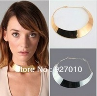 Min order is $10(mix order) Fashion jewellery punk metal collar chokers necklace collapsibility torques gold&silver women