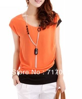 Free shipping Korean version of the 2013 new summer women's round neck mixed colors wholesale loose chiffon shirt short-sleeved
