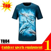 Super Deal! TQ04 2013 New Quick Dry 3D Men Short Sleeve Top The Blue Sea Shark 3D Print T-shirt Plus Size M L XL XXL