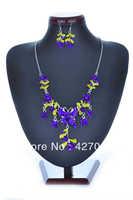Hot Fashion Mixed Butterfly Necklace Earring Set 6Colors Butterfly Flower Enamel Dangle Necklace Earring Jewelry Sets