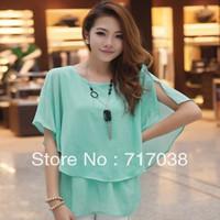 Free shipping 2013 summer new Korean Women Slim flounced chiffon blouse sweet round neck short-sleeved chiffon shirt shirt