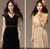 2 Color 2015 New Crystal Sashes Sleeveless Pleat Chiffon  Bandage Evening Dresses plus size women clothing Embroidery fold dress