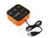 Free shipping multifunctional USB hub support MS/Pro Duo,M2,SD/MMC,Micro SD wth 3 USB port