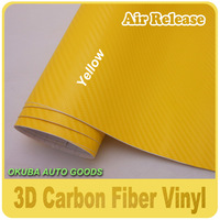 High Quality Yellow 3D Carbon Fiber Wrap Vinyl Sticker Film With Air Bubble Free By FedEx Free Shipping Size:1.52*30m