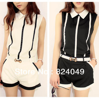 Free shipping 2013 new style top fashion women striped european two pieces shirt and tight pants chiffon suit with belt