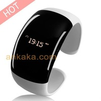 Stylish Lady's Cellphone Bluetooth Bracelet with LED Time Display and Caller ID - White
