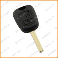 free shipping peugeot 307 car key 2 buttons remote key fob case no logo VA2 blade