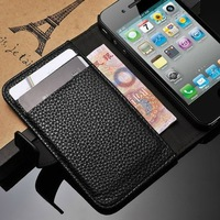 Luxury Fashion Wallet Case Cover For iPhone 4 4S 5G With Card Holder Stand Design Leather Case For iPhone 4 4S 5G Free Shipping