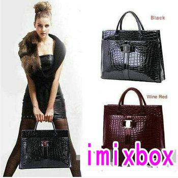 Luxury OL Lady Women Crocodile Pattern Hobo Handbag Tote Bag 2 Color Horizontal Version W1247