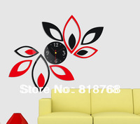 Min order 15 usd ( Mix items )New Arrival DIY 3D Home Modern Decoration Crystal Mirror Living Room Wall Clock Silver Wholesale
