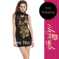 Drop Shipping Floral Foil Print Bodycon Dress Black Cheongsam Sleeveless Designed Print Fashion Women Dress R75081