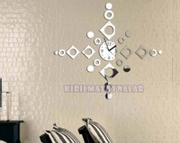 Min order 15 usd ( Mix items )2014 New Best Selling 3d Home Decoration !mirror Wall Clock .wall Stickers Birthday Gift.diy Clock