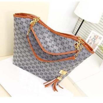 2014 Casual  women's handbag stripe canvas bag chain tassel hangings handbag fashion bag