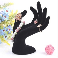 Free Shipping 1pcs OK Hand Ring Jewelry Showcase Display Stand Window Show Holder Black Velvet