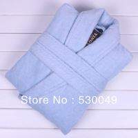 Free Shipping Zero Twist 100% Cotton Super Soft Bathrobe For Gentleman 3 Colors, L, XL For Autumn & Winter Season Blue