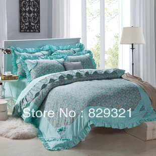 100% cotton 4 piece set bedding set princess bed set cotton duvet cover set/duvet cover/bedclothes/bedsheet/bed linen