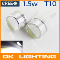 Free Shipping T10 1.5W 30lm LED Optical Lens White Light Car Clearance Lamp(2 PCS / 12V)