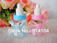 Free shipping  for lovely and special wedding favor gift  baby feeding bottle wedding chocolate&candy box with bowknot 48pcs/lot