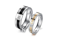 New Arrival Fashion Titanium Rings Couple Stainless Steel CZ Diamond Rings For Lovers Free Shipping