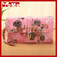 2014 Fashion American-Euro Style Day Clutch Evening Wristlet Bag,Genuine Leather Messenger Handbag with Flowers Prints,CN-1303