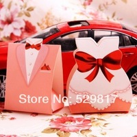 Free shipping Groom & Bride Candy Box For Wedding And Party, Gloss Finish, Pink, Factory Sale,50pcs=25pairs
