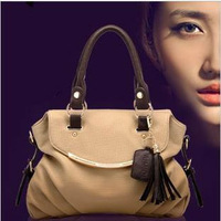 Brand 2013 fashion women [GENUINE LEATHER+ Microfibre] handbags high quality Faux Leather Tassel designers Restore shoulder bags