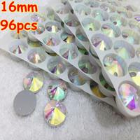 96pcs 16mm Rivoli Shape flatback Sew on Rhinestones 2 holes Crystals Crystal AB Silver base for dress decoration