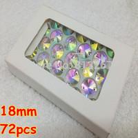 72pcs 18mm Rivoli Shape flatback Sew on Rhinestones 2 holes Crystals Crystal AB Silver base for dress decoration