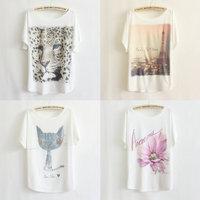 free shipping 2013 thin plus size loose batwing sleeve women's short sleeve T-shirt print tee women t shirt
