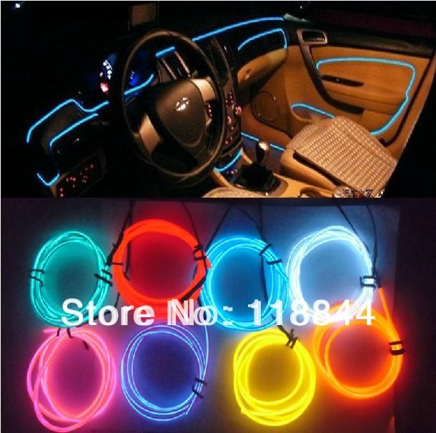 wholesale Car Decoration Lamp Led Car Atmosphere Lamp 3d el Cold Light cold light lamp refires EL Sheet 3Meter Free Shipping(China (Mainland))