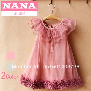 New summer  children's dress girls vest fully thin cotton lace flowers bitter fleabane gauze plate dress Size 110~150