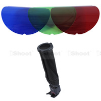 25/45 Degree Honeycomb Grid+Cover+Red Green Blue RGB Color Filter+Snoot speedlite Flash Softbox Diffuser Reflector