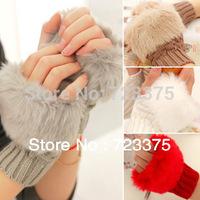 2014 brief paragraph hemp pattern maomao imitation rabbit hair knitted sweater half finger gloves female winter free shipping