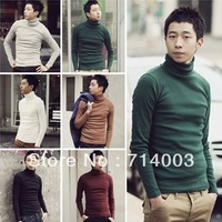 KS006 New Arrival Men's Slim Casual Pure Color Knitwear Pullover 4 sizes 6 Colors Free Shipping