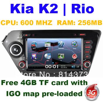 Car Radio GPS for KIA K2 | RIO with Bluetooth phonebook/ Ipod function/ Analog TV/Radio/ 3G USB host free IGO map