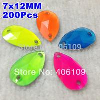 7x12 mm 200Pcs/lot NEON Mixed COLORs Pear Droplet Shape SEWING ON Waterdrop RESIN FLAT BACK Teardrop RHINESTONE