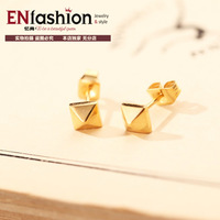 18KGP gold plated fashion pyramid shape nail earring fashion earring stud stainess steel jewelry wholesale free shipping