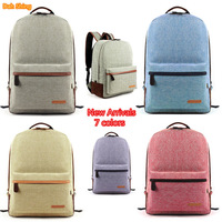 "New 2014 simple Linen solid 7 colors school bags women backpack men's travel bags 43*30cm for 14""laptop"