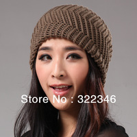 2013 Autumn And Winter Women's Hats Solid Color Water Ripple Style Knitted Beanies Fashion Cap Women Winter Hat Free Shipping