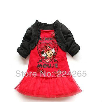 2014 New Arrival Summer 2 Pcs/Set Kids Clothes Set Dress Skirt+Shawl 2pcs Minnie Mouse Girls Clothing Suit