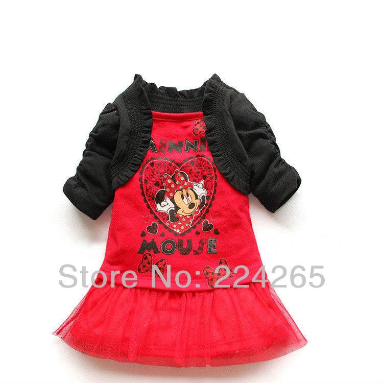 2014 New Arrival Summer 2 Pcs/Set Kids Clothes Set Dress Skirt+Shawl 2pcs Minnie Mouse Girls Clothing Suit(China (Mainland))