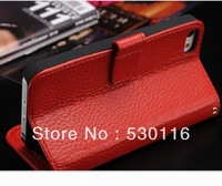 10PCS /Lot With Credit Card Slots Wallet Leather Case Hot Flip Cover For iPhone 5 Phone With Genuine Leather Skin FreeShipping