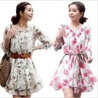 Summer women's one-piece dress plus size fashion slim half sleeve o-neck chiffon floral print dress 9658#