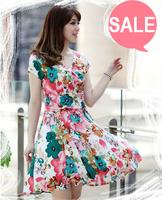 Summer 2014 women's modal short-sleeve v-neck A-line  plus size dresses beautiful