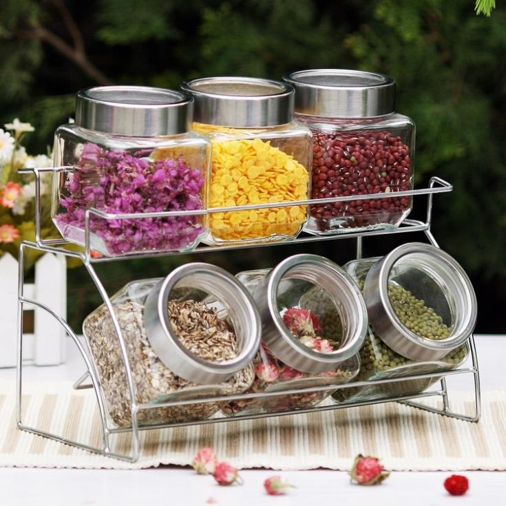 Home Supplies Glass Storage Jar Set Food Font B Canister B Font