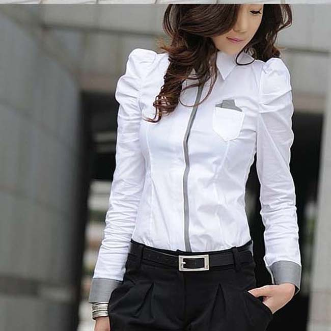 New Fashion Office Lady White Shirt 2014 Korean Casual Design Top Size S-2XL Noble Charm Women Formal Blouse D1086(China (Mainland))