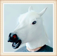Free Shipping   Creepy  White Horse Mask Head Halloween Latex mask  Theater Prop Novelty Mask  for Adult