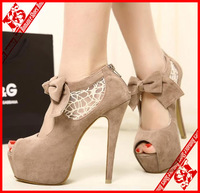 FREE SHIPPING 2014 open toe ultra high heels lace patchwork bow  platform shoes female wedding shoes size 5-8