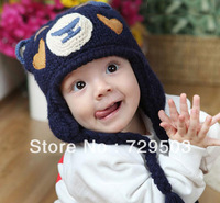 NEW Bear shaped Knitted caps Boy girl Winter baby hat Crochet children warm hats Cute kids cap Free shipping wholesale A05M27