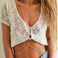 Free Shipping, PUNK   Charming   Gold  Plated  Chains Body Chain/Waist Chain , 6pcs/lot